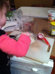 My 4-year-old mixing up the sauce