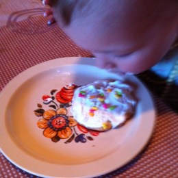 My youngest, inspecting her cookie...