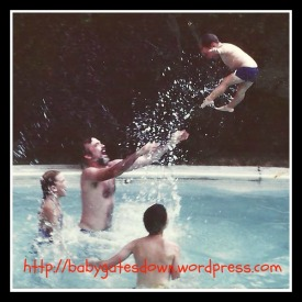 My brother - air born in pool, circa 1983.  So yeah, he could also fly.