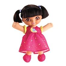 Sweet Dreams Dora. Her eyes open and close. She plays music or giggles when you push her belly. Oh! And you can brush her hair!