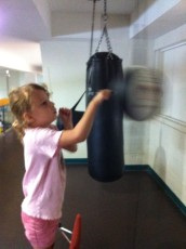 Checking out the new boxing bag at the Ottawa Athletic Club.