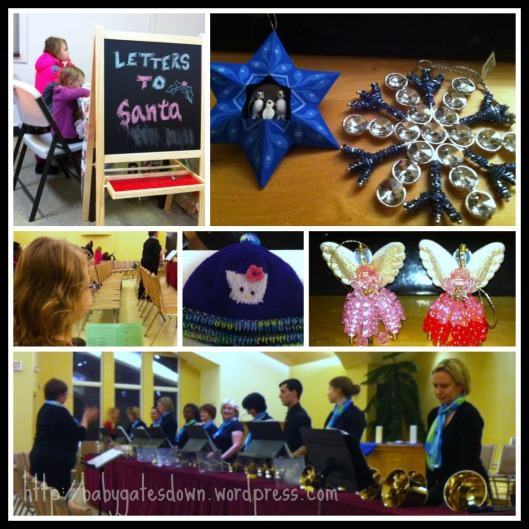 Top row: Girls writing letters to Santa at Capital Pop up and the tree decorations they chose last night at Ten Thousand Villages. Middle Row: My eldest waiting for the Hand Bell Concert to begin last night; hat and angel decorations purchased at the Canterbury show last weekend. Bottom row: Hand Bell show ready to begin.