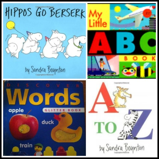 Photo credits: Boynton A to Z: http://www.pinterest.com/pin/474707616946988566/; Hippos: http://www.amazon.co.uk/Hippos-Go-Berserk-Sandra-Boynton/dp/0689834993#reader_0689834993; My Little A to Z: http://www.pinterest.com/pin/474707616946988604/ and Glitter Words is courtesy of my IPhone because I couldn't find it online.