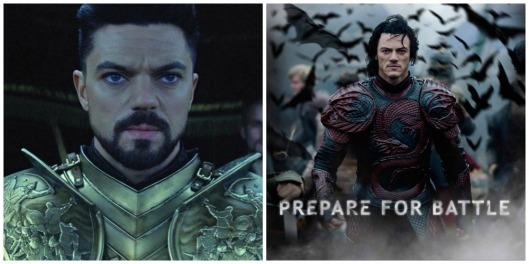 Left: Sultan Mehmet II played by Dominic Cooper. Right: Dracula, played by Luke Evans.