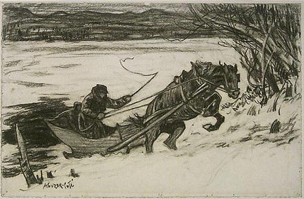 Suzor-Coté, Marc-Aurèle de Foy - En traîneau, sautant vers la rive. Illustration pour Maria Chapdelaine, de Louis Hémon - photo from here: http://www.mnbaq.org/