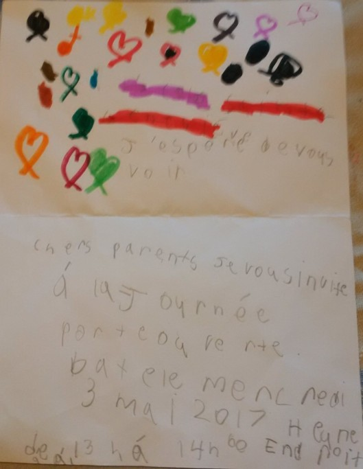 Why does it always rain on me baby gates down for those who either cant read french or my daughters penmanship its an invite to a school open house tomorrow at 100pm stopboris Image collections